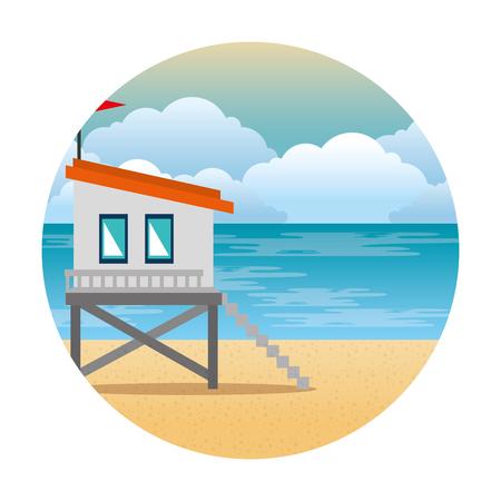 baywatch booth building icon vector illustration design Archivio Fotografico - 104246613