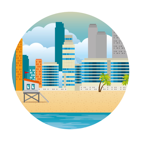 cityscape buildings with palms and lifeguard booth scene vector illustration