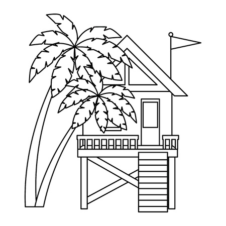 baywatch booth building with trees palms vector illustration design 写真素材 - 104246619