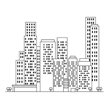 cityscape buildings silhouette scene vector illustration design