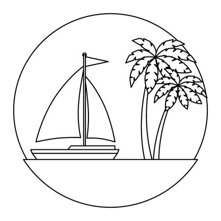 sailboat travel seascape emblem vector illustration design Illusztráció