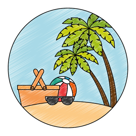 sunglasses summer with balloon and basket in the beach vector illustration Illustration