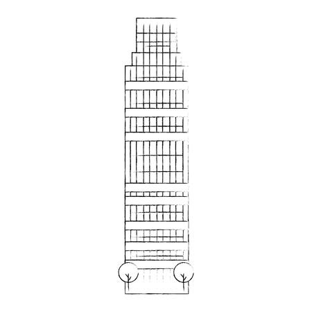 skyscraper building facade icon vector illustration design Illustration