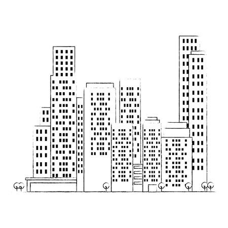 cityscape buildings scene icons vector illustration design Archivio Fotografico - 104246807