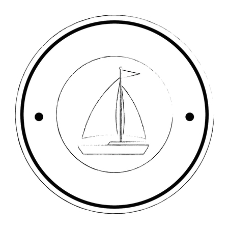 sailboat travel seal stamp vector illustration design