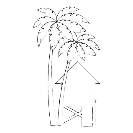 baywatch booth building with trees palms vector illustration design Archivio Fotografico - 104246810