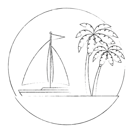 sailboat travel seascape emblem vector illustration design Illustration