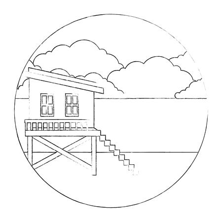 baywatch booth building icon vector illustration design Archivio Fotografico - 104246818