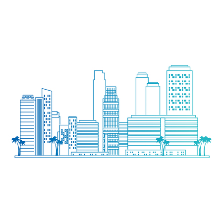 cityscape buildings with palms scene vector illustration design Ilustração