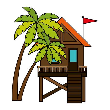 baywatch booth building with trees palms vector illustration design Archivio Fotografico - 104246958