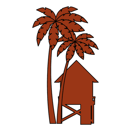 baywatch booth building with trees palms vector illustration design