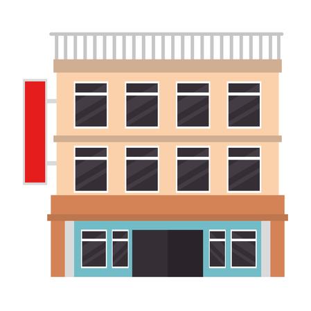 building hotel facade icon vector illustration design Banco de Imagens - 104246977