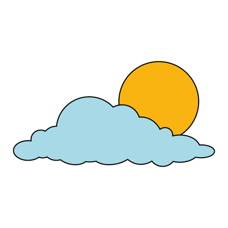 cloud with sun weather icon vector illustration design Çizim