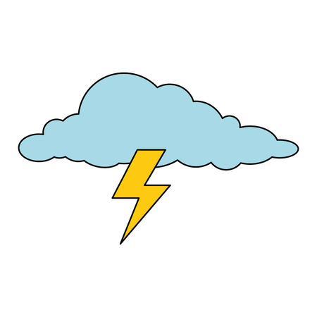 cloud with thunder weather icon vector illustration design