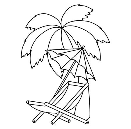 Regenschirmstrand mit Stuhl und Baumpalmenvektorillustrationsentwurf
