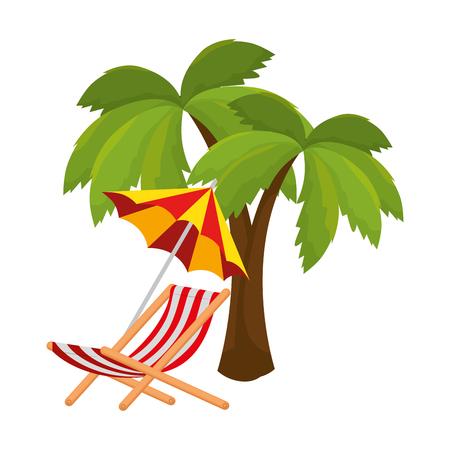 Playa de sombrilla con silla y palmera, diseño de ilustraciones vectoriales Ilustración de vector