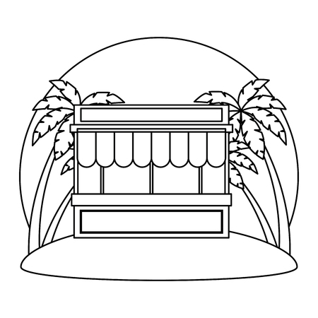 store building facade with parasol and palms vector illustration design