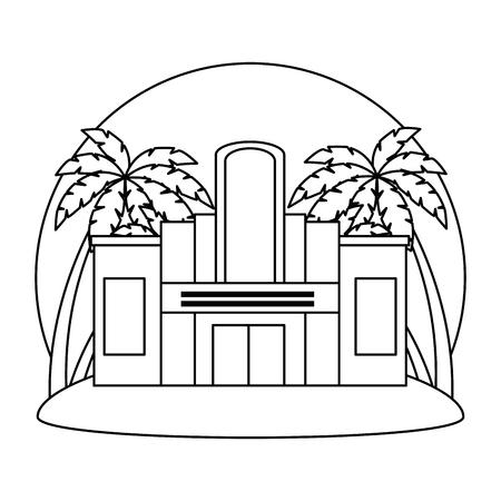 Façade du bâtiment de casino avec des arbres palmiers vector illustration design Vecteurs