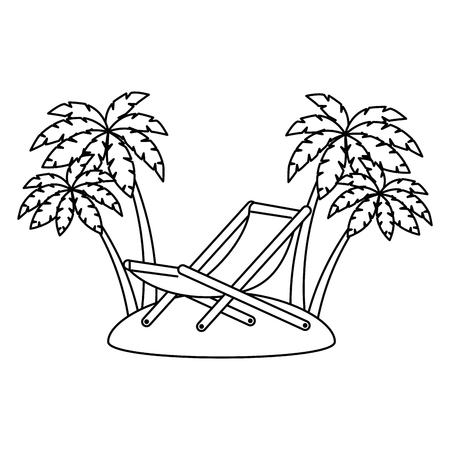 wooden beach chair with seascape vector illustration design