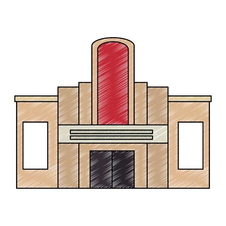 Façade du bâtiment du casino conception d'illustration vectorielle icône Vecteurs