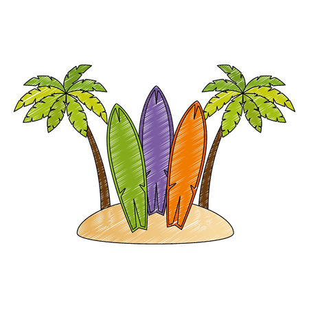 surfboards and palms on the beach vector illustration design