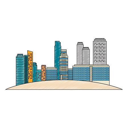 cityscape buildings scene icons vector illustration design Archivio Fotografico - 104247015
