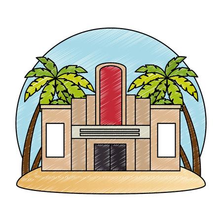 Façade du bâtiment de casino avec des arbres palmiers vector illustration design