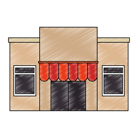 store building facade with parasol vector illustration design