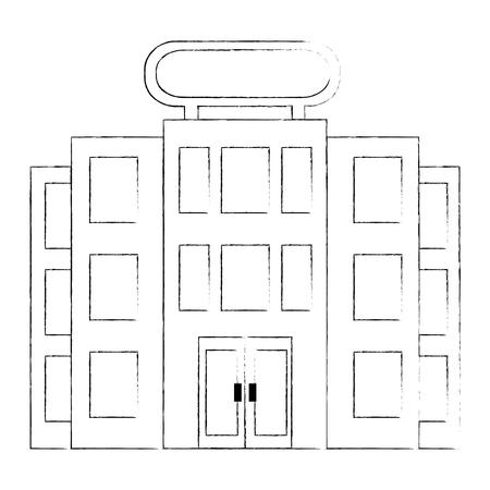 building hotel facade icon vector illustration design 向量圖像