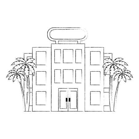 building hotel facade with trees palms vector illustration design