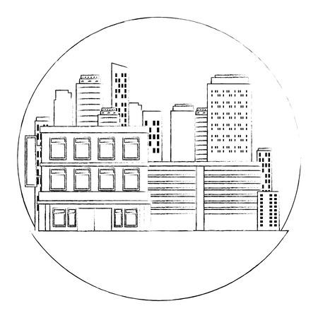 cityscape buildings scene icons vector illustration design Archivio Fotografico - 104182238