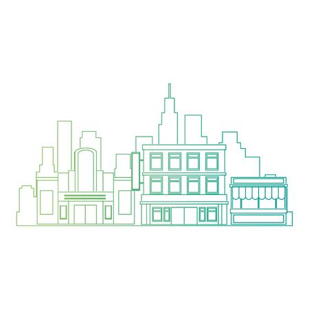 cityscape buildings scene icons vector illustration design
