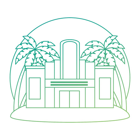 casino building facade with trees palms vector illustration design