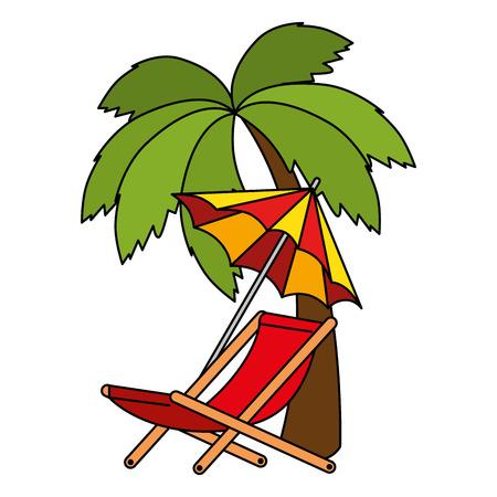umbrella beach with chair and tree palm vector illustration design Иллюстрация