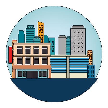 cityscape buildings scene icons vector illustration design Archivio Fotografico - 104247049
