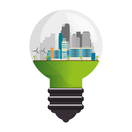 green city inside bulb vector illustration design