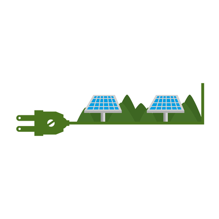 green energy plug with solar panels vector illustration design
