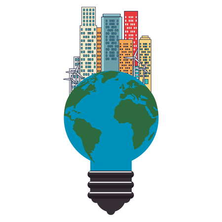 bulb world with buildings cityscape vector illustration design Illustration