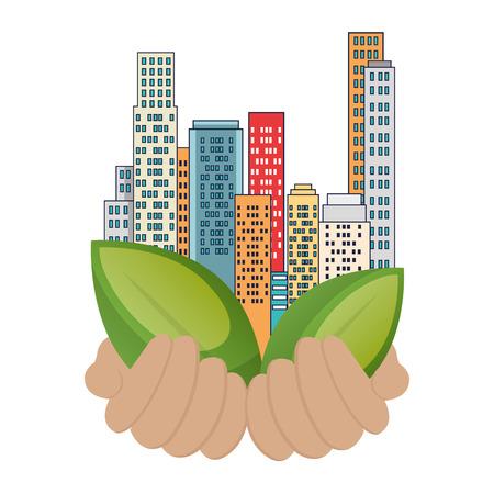 bâtiments de la ville verte et conception d'illustration vectorielle de feuilles Vecteurs