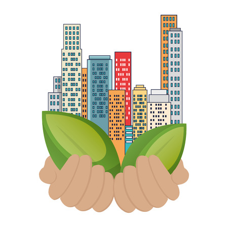 grüne Stadtgebäude und Blättervektorillustrationsentwurf Vektorgrafik