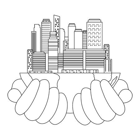 hands lifting half world with buildings vector illustration design Illustration