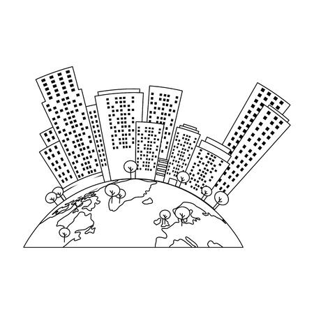 half world with buildings cityscape vector illustration design
