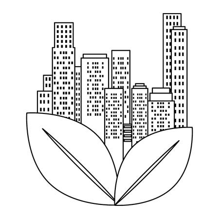 green city buildings and leafs vector illustration design Archivio Fotografico - 115075844