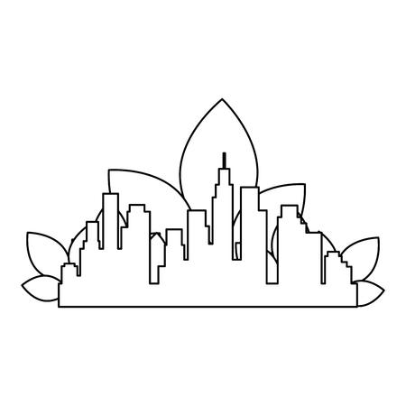 green city buildings and leafs vector illustration design Archivio Fotografico - 104209820