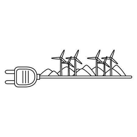 Enchufe de energía verde con turbinas, diseño de ilustraciones vectoriales de energía