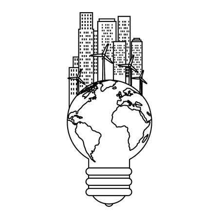 bulb world with buildings cityscape vector illustration design Illustration