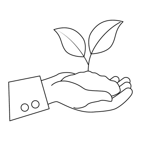 hands lifting plant and ground ecology vector illustration design