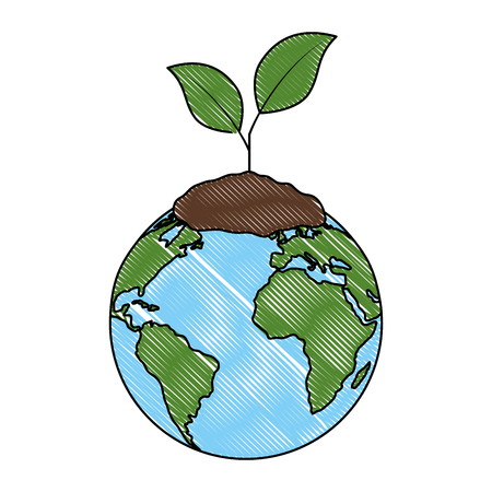 world planet earth with plant vector illustration design