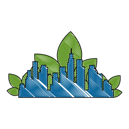 green city buildings and leafs vector illustration design