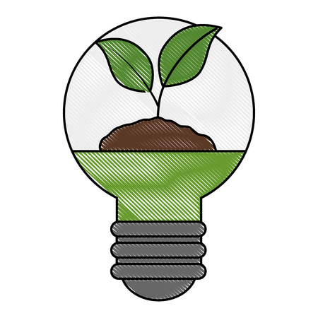 plant and ground inside bulb ecology vector illustration design